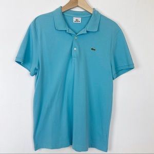 Lacoste polo shirt light blue aqua stretch cotton